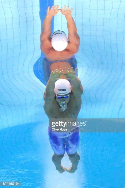 Taehwan Park of Korea competes during the Men's 1500m Freestyle heats on day sixteen of the Budapest 2017 FINA World Championships on July 29 2017 in...