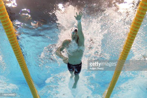 Taehwan Park of Korea competes in heat three the Men's 400m Freestyle on Day One of the London 2012 Olympic Games at the Aquatics Centre on July 28...
