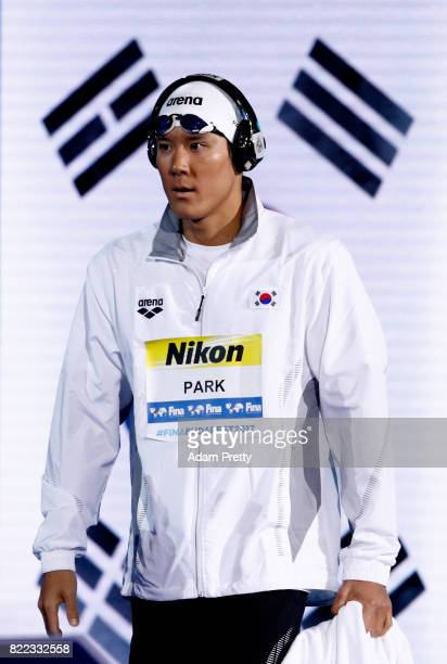 Taehwan Park of Korea walks out prior to the Men's 200m Freestyle final on day twelve of the Budapest 2017 FINA World Championships on July 25 2017...