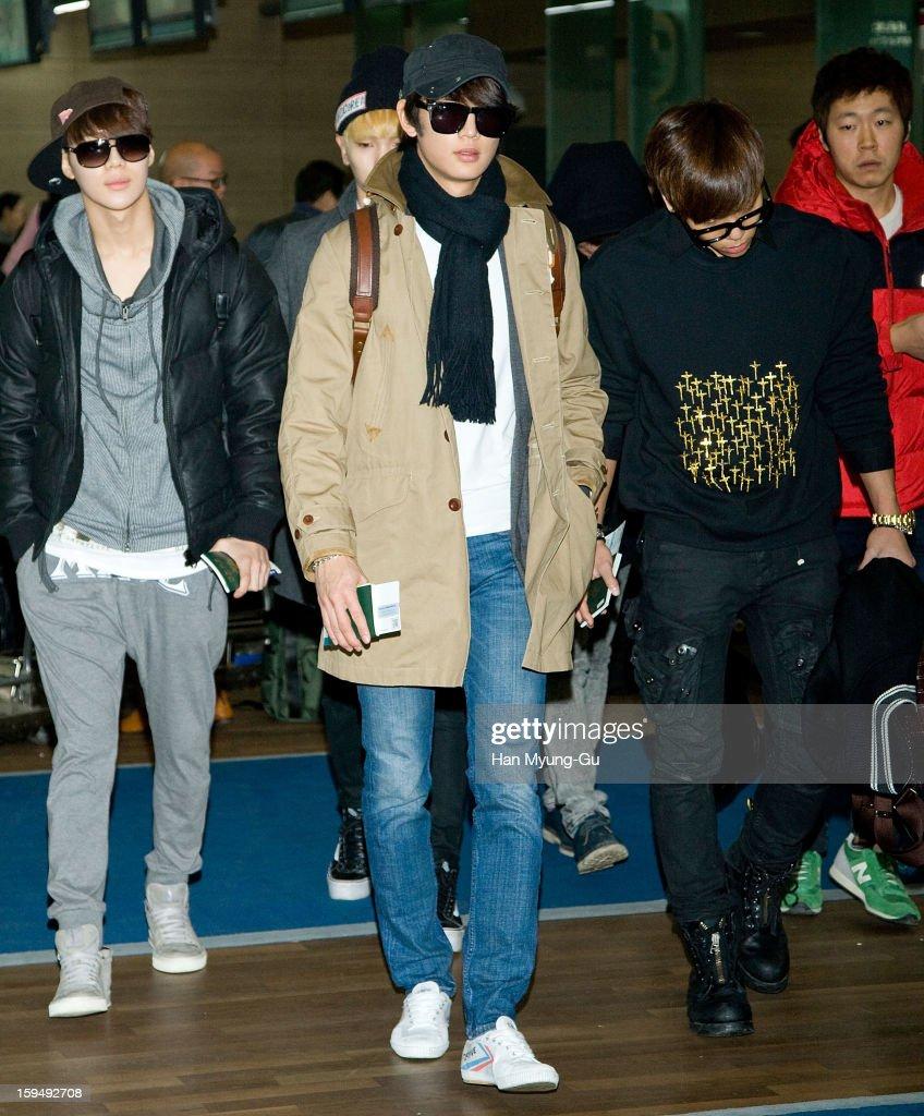 Taemin, Minho and Jonghyun of South Korean boy band SHINee is seen at Incheon International Airport on January 13, 2013 in Incheon, South Korea.