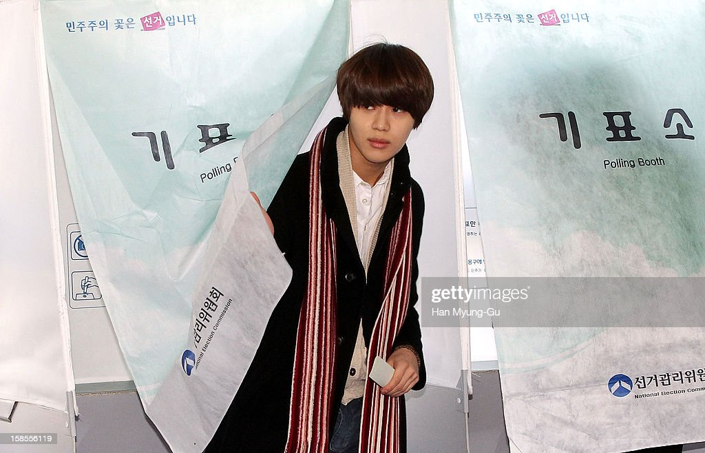 Taemin of South Korean boy band SHINee ballots for the presidential election at a polling station on December 19, 2012 in Seoul, South Korea. Ruling Seanuri Party candidate Park Geun-Hye and opposition Democratic United candidate Party Moon Jae-In have been locked in a close race with each other during the election campaign.