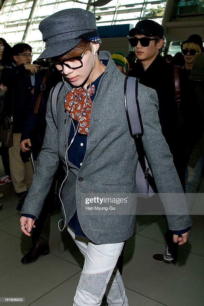 Taemin of South Korean boy band SHINee is seen at Incheon International Airport on February 16, 2013 in Incheon, South Korea.