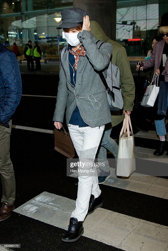 Taemin of South Korean boy band SHINee is seen upon arrival at Incheon International Airport on February 18, 2013 in Incheon, South Korea.