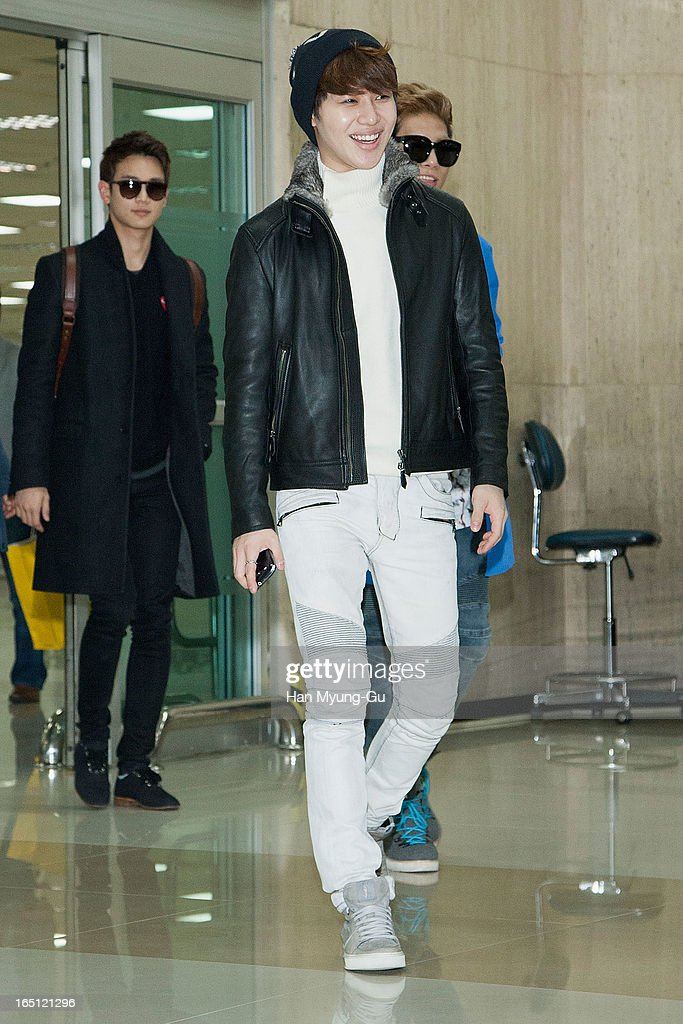 Taemin of South Korean boy band SHINee is seen upon arrival from Japan at Gimpo International Airport on March 30, 2013 in Seoul, South Korea.
