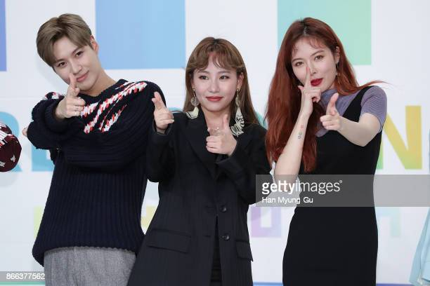 Taemin of South Korean boy band SHINee Jo HyunA aka Jo Hyuna of Urban Zakapa and HyunA of South Korean girl group 4minute attend the KBS Idol...