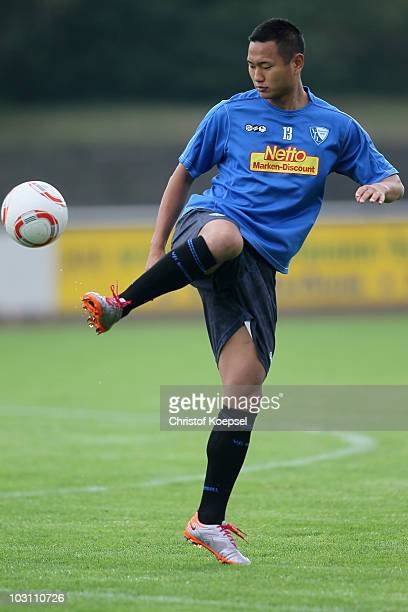 TaeSe Jong juggles with the ball during the VfL Bochum training session at the Bib Arena on July 27 2010 in Bochum Germany