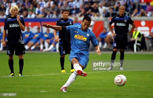 TaeSe Jong of Bochum scores his teams first goal during a friendly match between MSV Duisburg and VfL Bochum at the Schauinsland ReisenArena on July...
