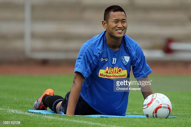 TaeSe Jong stretches during the VfL Bochum training session at the Bib Arena on July 27 2010 in Bochum Germany