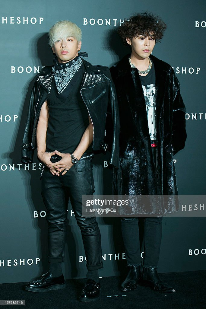 Taeyang and GDragon aka Kwon JiYong of South Korean boy band Bigbang attend the 'Boon The Shop' Cheongdam store launch party on October 17 2014 in...