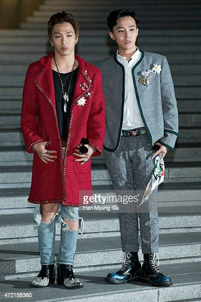 Taeyang and GDragon aka Kwon JiYong of South Korean boy band Bigbang attend the Chanel 2015/16 Cruise Collection show on May 4 2015 in Seoul South...