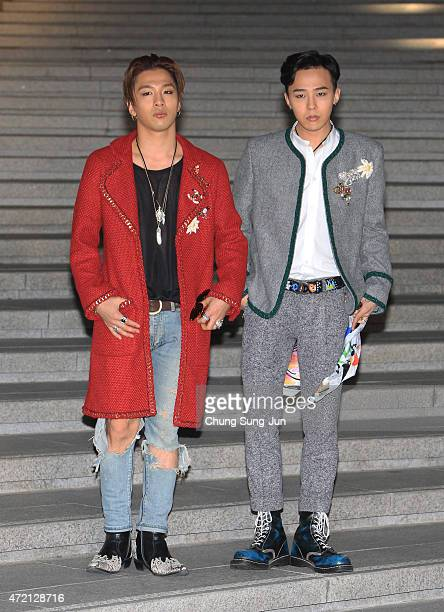 Taeyang and GDragon arrive the Chanel 2015/16 Cruise Collection show on May 4 2015 in Seoul South Korea