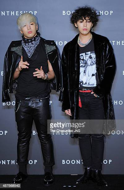 TaeYang and GDRAGON of BigBang pose for photographs during the Boontheshop Cheongdam Store opening event at Cheongdamdong on October 17 2014 in Seoul...