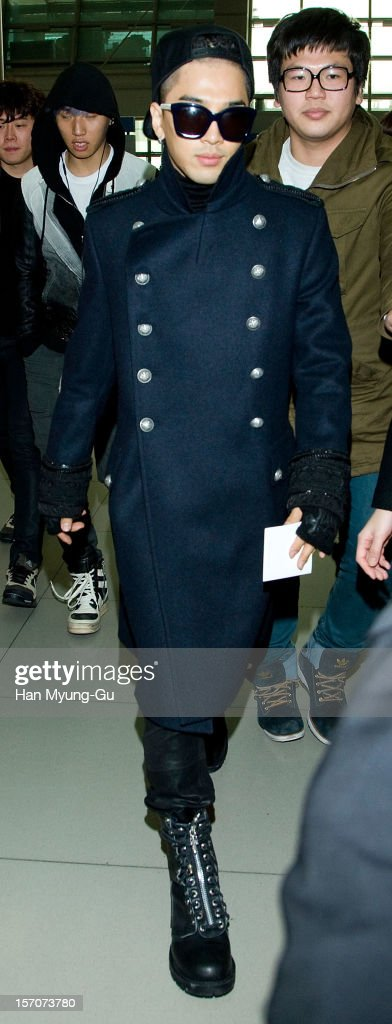 Taeyang of South Korean boy band Big Bang is seen at Incheon International Airport on November 28, 2012 in Incheon, South Korea.