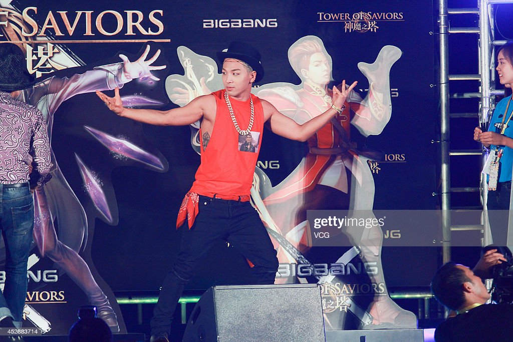 Taeyang of South Korean boy band Bigbang attends mobile game 'Tower of Saviors' promotional event at Hong Kong Convention and Exhibition Centre on...