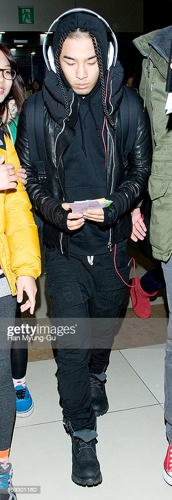 Taeyang of South Korean boy band Bigbang is seen at Gimpo International Airport on January 11, 2013 in Seoul, South Korea.