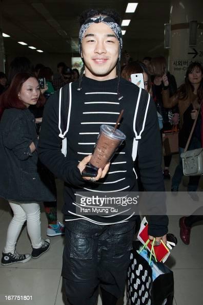 Taeyang of South Korean boy band Bigbang is seen upon arrival at Gimpo International Airport on April 29 2013 in Seoul South Korea