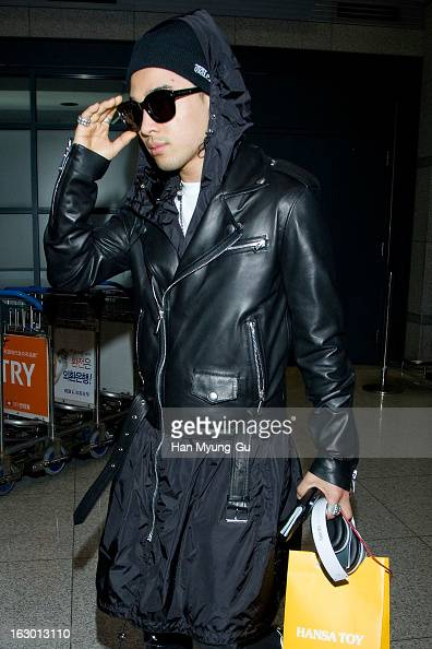 Taeyang of South Korean boy band Bigbang is seen upon arrival from China at Incheon International Airport on March 3 2013 in Incheon South Korea