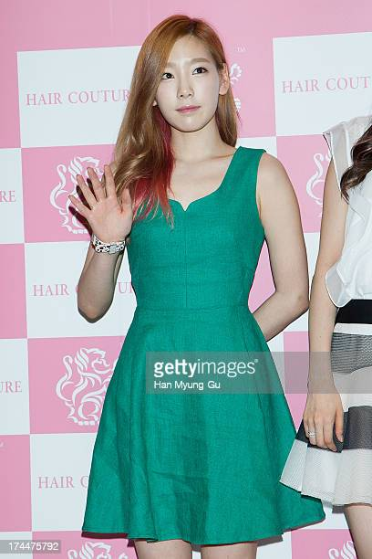 Taeyeon of South Korean girl group Girls' Generation attends an autograph session for the 'Hair Couture' at Olive Young Store on July 26 2013 in...