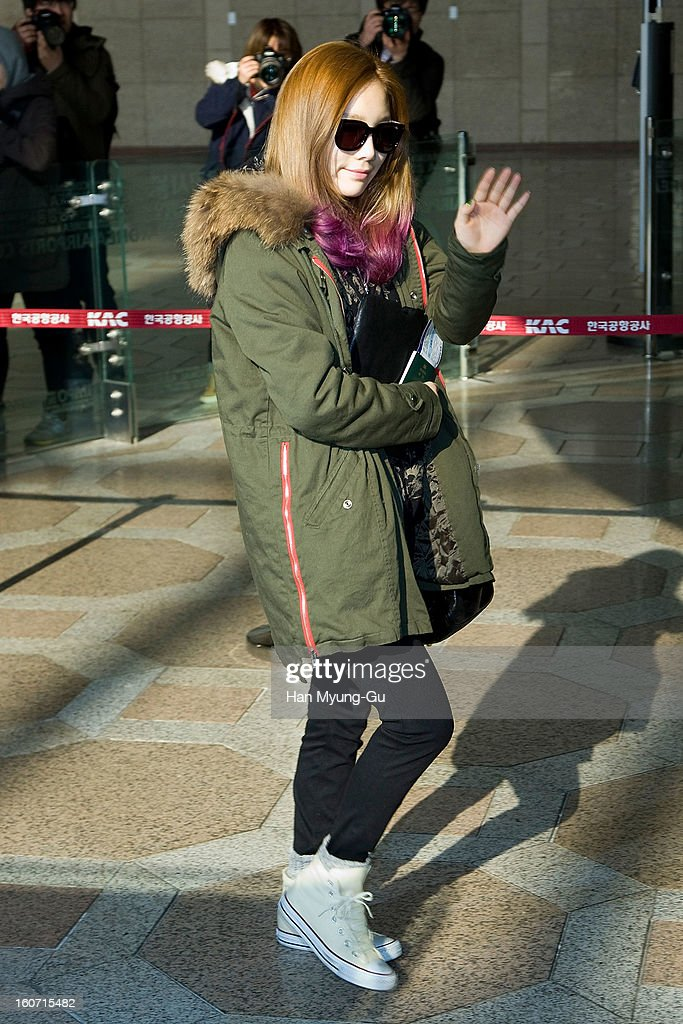 Taeyeon of South Korean girl group Girls' Generation is seen at Gimpo International Airport on February 4, 2013 in Seoul, South Korea.