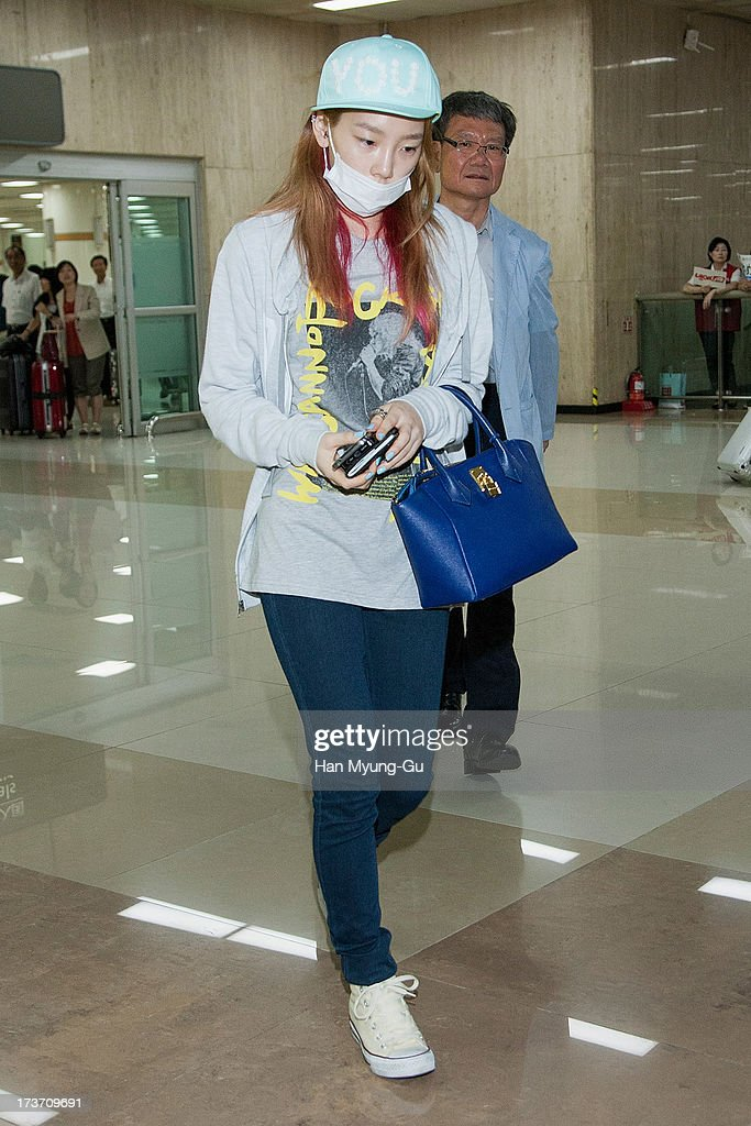 Taeyeon of South Korean girl group Girls' Generation is seen upon arrival at Gimpo International Airport on July 17, 2013 in Seoul, South Korea.