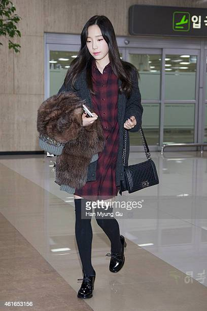 Taeyeon of South Korean girl group Girls' Generation is seen upon arrival at Gimpo International Airport on January 16 2015 in Seoul South Korea