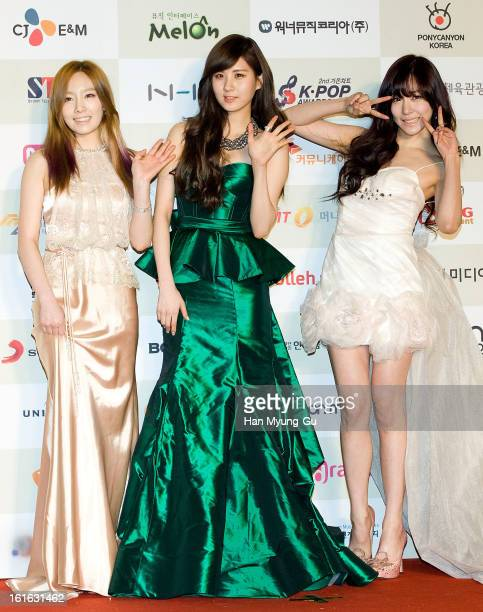 Taeyeon Seohyun and Tiffany of South Korean girl group Girls' Generation attend during the 2nd Gaon Chart KPOP Awards at Olympic Hall on February 13...