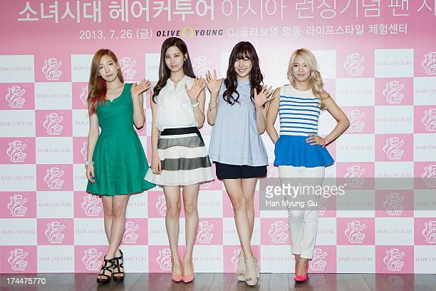 Taeyeon Seohyun Tiffany and Hyoyeon of South Korean girl group Girls' Generation attend an autograph session for the 'Hair Couture' at Olive Young...