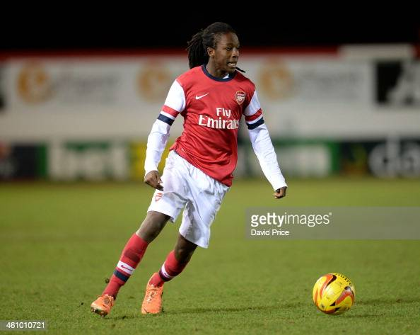 Tafari Moore of Arsenal during the FA Youth Cup Fourth Round match between Peterborough United U18 and Arsenal U18 at London Road Stadium on January...