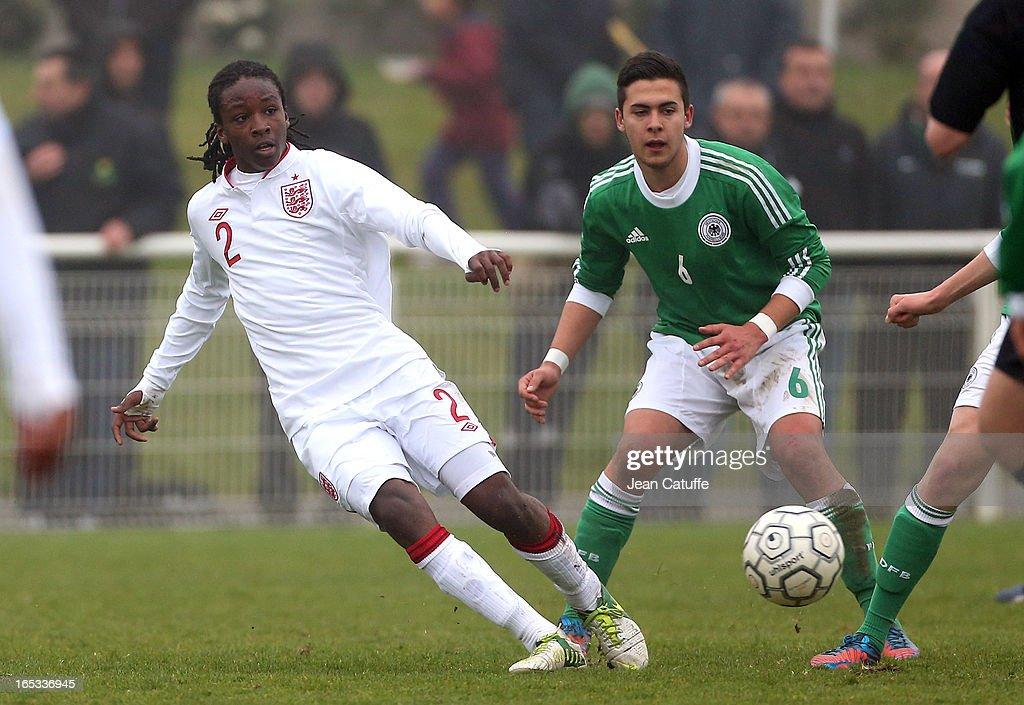 Tafari Moore of England in action during the Tournament of Montaigu qualifier match between U16 Germany and U16 England at the Stade Saint Andre D'Ornay on March 30, 2013 in La Roche-sur-Yon, France.