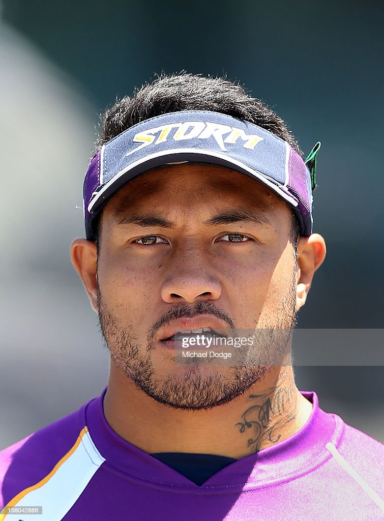 Tafeaga Junior Sa'u looks on during a Melbourne Storm NRL training session at Gosch's Paddock on December 10, 2012 in Melbourne, Australia.