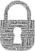 Tag or word cloud human trafficking awareness day related in shape of padlock