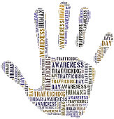Tag or word cloud human trafficking awareness day related in shape of hand or palm