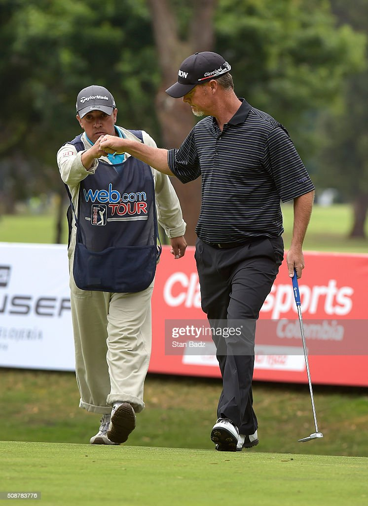 Tag Ridings celebrates his birdie putt on the sixth hole during the third round of the Web.com Tour Club Colombia Championship Presented by Claro at Bogotá Country Club on February 6, 2016 in Bogotá, Colombia.