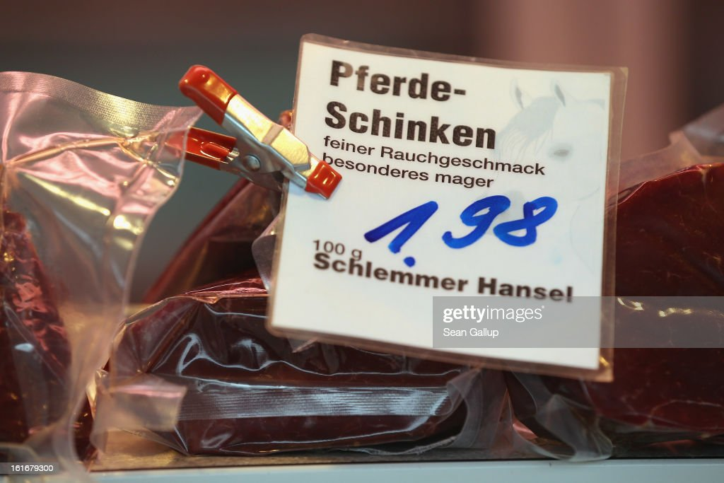 A tag shows the price of horsemeat ham at the Schlemmer Hansel stand at the weekly open-air market in Hohenschoenhausen district on February 14, 2013 in Berlin, Germany. While authorites arcoss Europe investigate the origin of ready-made lasagne that was labeled to contain only beef when it in fact also contained horsemeat, fans of horsemeat are pointing to its good taste and its health benefits. Horsemeat contains significantly less fat than beef and has slightly higher protein.