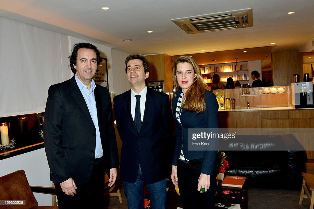 Tagerim Resort CEO Jerome Quentin Mauroy, architects Jerdi Veciana and Skye Maunsell attend the '9 Hotel' Opening Party on January 10, 2013 in Paris, France.