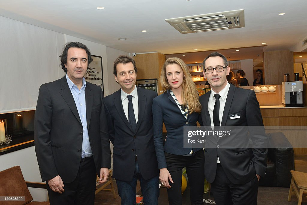 Tagerim Resort CEO Jerome Quentin Mauroy, architects Jerdi Veciana, Skye Maunsell and Tagerim Resort director Jean Lavabre attend the '9 Hotel' Opening Party on January 10, 2013 in Paris, France.