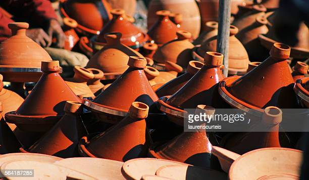 Tagines for sale in a local market, Marrakech, Morocco