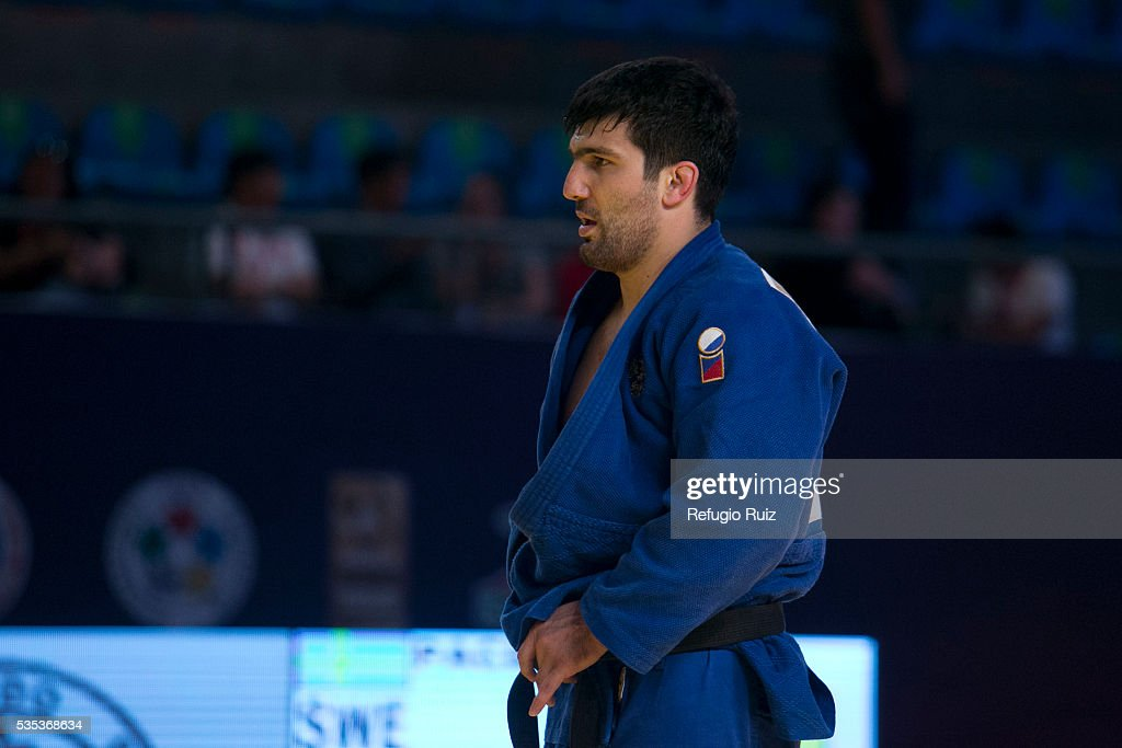 Tagir Khaibulaev (blue) of Russia during the men's -100kg fight as part of the World Judo Masters Guadalajara 2016 at Adolfo Lopez Mateos Sports Centre on May 28, 2016 in Gudalajara, Mexico.