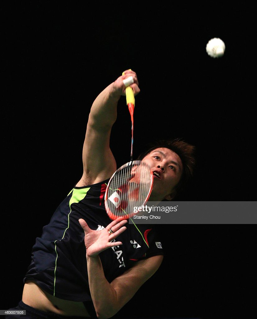 Tago Kenichi of Japan plays his shot to Eric Pang of the Netherlands during the Men's Singles of the Malaysia Badminton Open on January 16, 2014 in Kuala Lumpur, Malaysia.