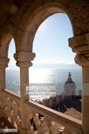 Tagus river from Torre de Belem : Stock Photo