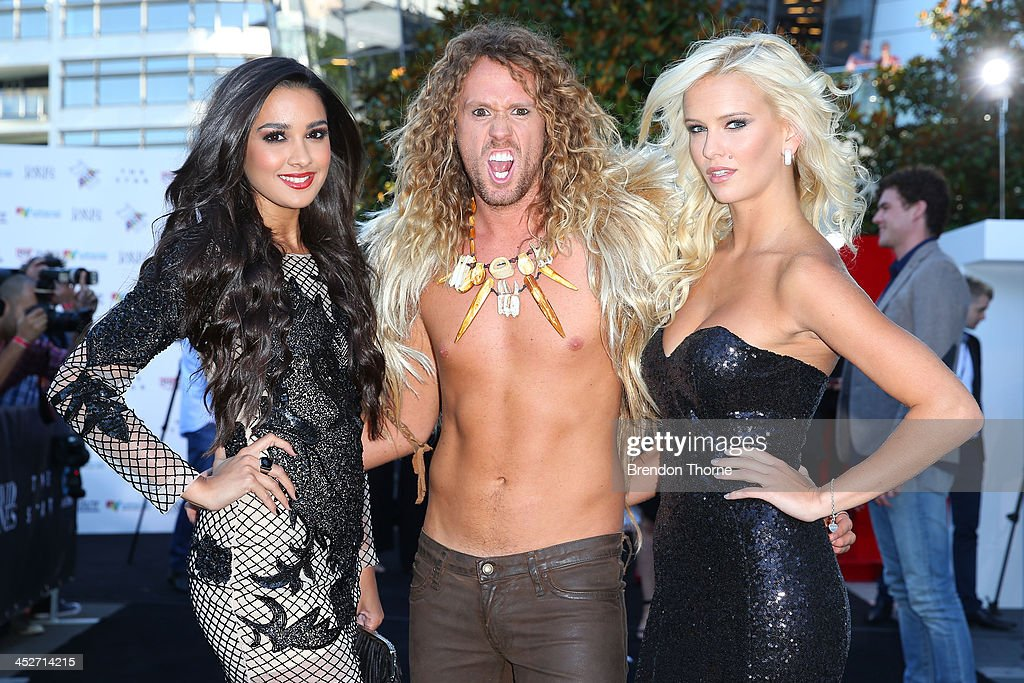 Tahan Lew-Fatt, Tim Dormer and Jade Albany Pietrantonio from Big Brother Australia arrives at the 27th Annual ARIA Awards 2013 at the Star on December 1, 2013 in Sydney, Australia.