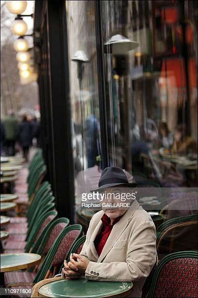 Tahar Ben Jelloun Moroccan author at the Cafe de Flore in Paris France on February 15th 2005