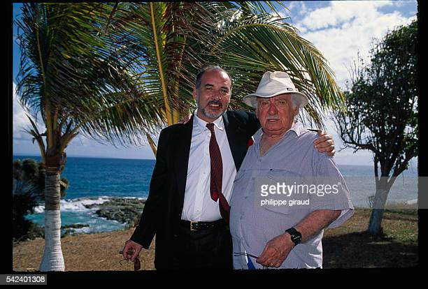 Tahar Ben Jelloun receives the Hemispheres Prize given to him by Jorge Amado at the Pointe des Chateaux | Location St Francois Guadeloupe