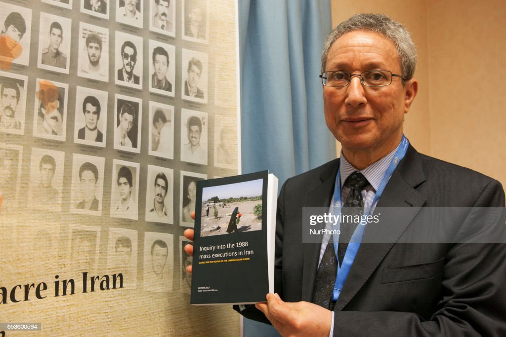 "Tahar Boumedra, the former chief of the Human Rights Office of the UN Assistance Mission for Iraq (UNAMI), poses after press conference by the International Committee ""Justice for Victims of 1988 Massacre in Iran"" (JVMI) at the UN Headquarters in Geneva on Wednesday, March 15, 2017 to announce its first report on the massacre of 30,000 political prisoners mainly supporters of the Peoples Mojahedin Organization of Iran (PMOI/MEK) in Iran in 1988."