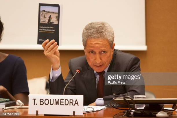 Taher Boumedra Expert rapporteur of JVMI Human Rights experts and personalities in a conference on September 13 at the 36th session of the Human...