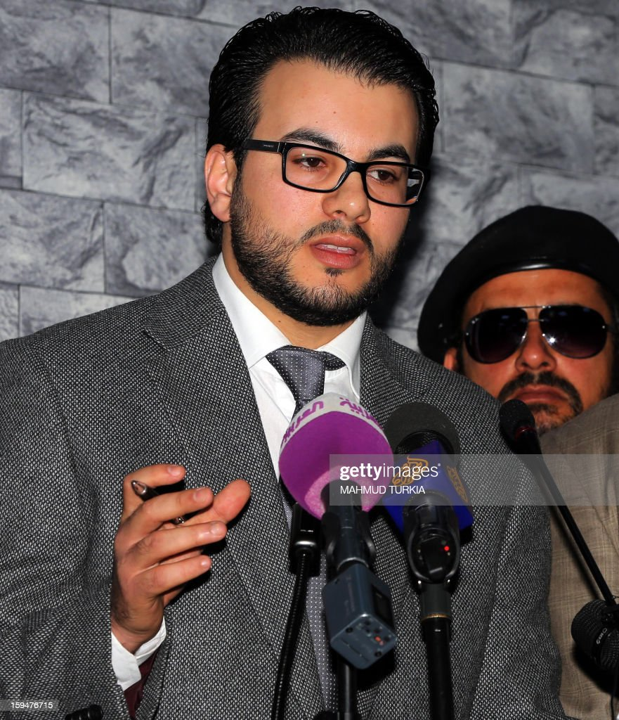 Tahir Barh, spokesperson for the Offices of the Attorney General, gives a news conference following the court hearing of Libyan prime minister Baghdadi al-Mahmudi, Mabrouk Zhmul and Amer Saleh Tervas, in Tripoli, on January 14, 2013. The trial of Mahmudi, late Libyan dictator Moamer Kadhafi's last prime minister, continues in the Libyan capital as he faces charges of 'prejudicial acts against the security of state'.
