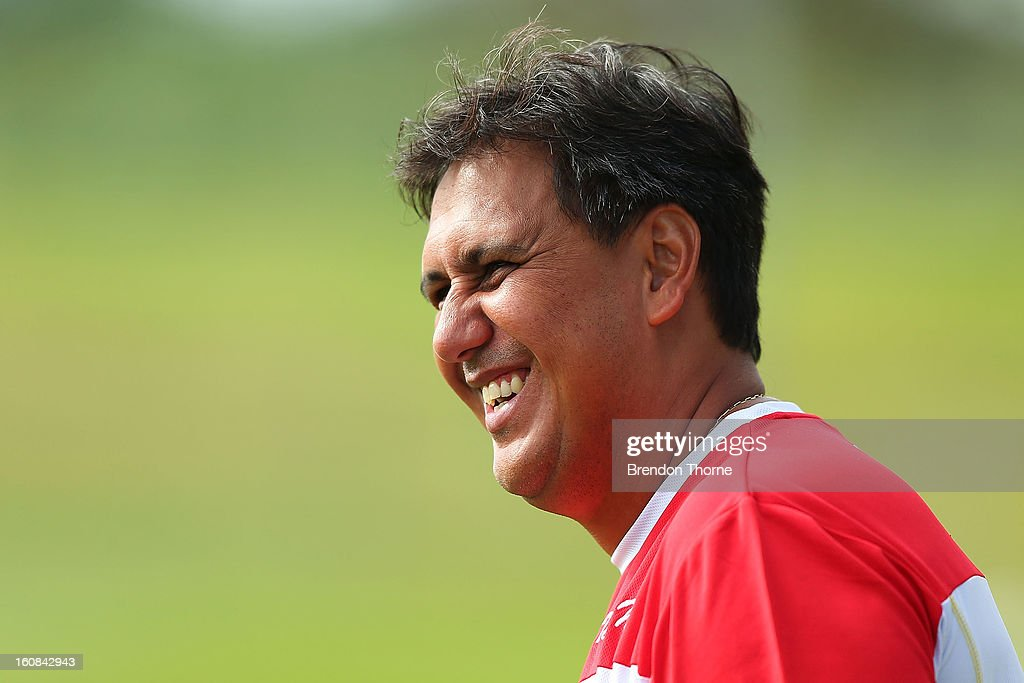 Tahiti Coach, Eddy Etaeta shares a joke with Sydney FC Coach, Frank Farina prior to the friendly match between Sydney FC and Tahiti at Macquarie Uni on February 6, 2013 in Sydney, Australia.