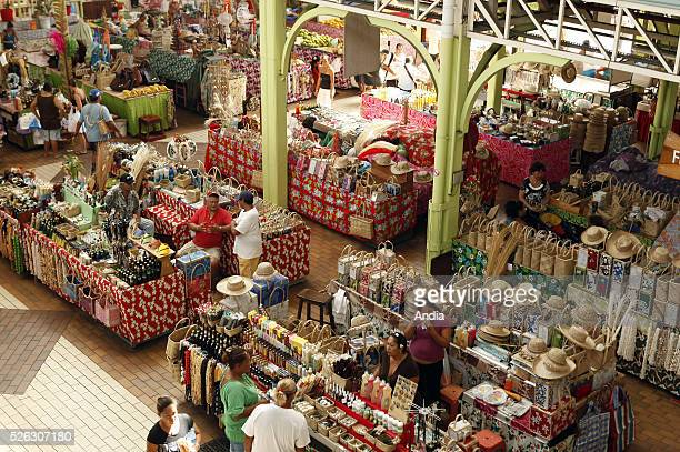 Papeete craft market Stalls with handicrafts bags monoi hats