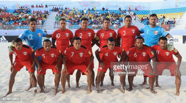 Tahiti line up against Brazil ahead of the FIFA Beach Soccer World Cup Bahamas 2017 group D match between Brazil and Tahiti held at National Beach...