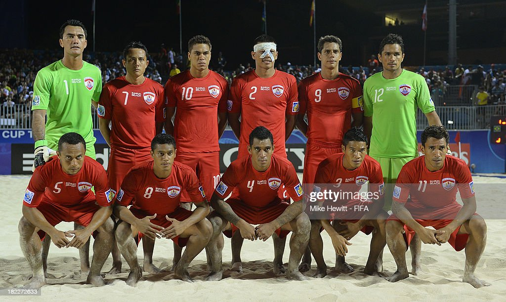 Tahiti pose for a team photo ahead of the FIFA Beach Soccer World Cup Tahiti 2013 3rd Place Playoff match between Brazil and Tahiti at the Tahua To'ata Stadium on September 28, 2013 in Papeete, French Polynesia.